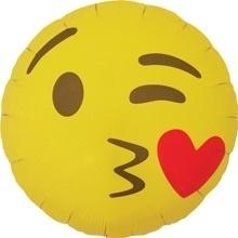 Emoticon - Emoji - Hart Kusje -  Folie Ballon - 18 Inch./46cm