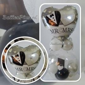 Mr. & Mrs. - Trouwdag - hart - Folie Ballon - 18 inch / 46 cm