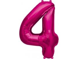 Cijfer - 4 - nummer - Fuchia - Folie ballon (lucht) - 16inch / 40 cm