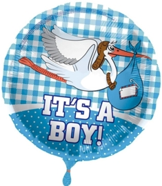 It's a Boy - Ooievaar - Folie Ballon - 17 inch/43cm
