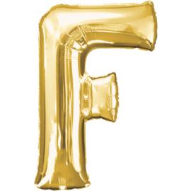 Letter F ballon goud 86 cm - folieballon letter alfabet helium of lucht