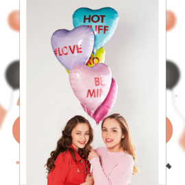 BE MINE - Roze - Hart Folie Ballon - 17 Inch/43 cm