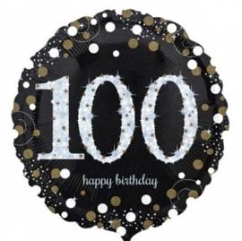 100  - Folie Ballon-Happy Birthday -Confetti  - Zilver / Zwart  17 Inch / 43 cm.
