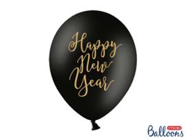 Happy New Year - Zwart / Goud  - Latex Ballon - 12 inch /30 cm - 6 st.