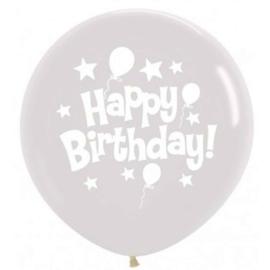 Happy Birthday - Ballonnen en Sterren- Doorzichtige XXL Latex Ballon - 36 inch/90cm