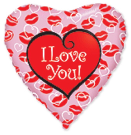 I love you - Kus lipjes - Folie hart ballon -  18 inch/45cm.