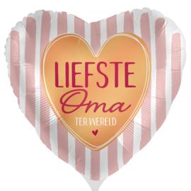 Liefste Oma ter Wereld -Rose / Goud/ Wit Satijn - Hart Folie Ballon - 17 Inch/43cm