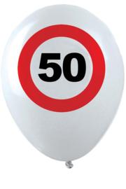50- cijfer- verkeersbord  - latex ballon - 11 inch/27,5cm - 6 st.