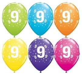 9 - nummer - div. Kleuren -  latex ballon - 11 inch/27,5cm