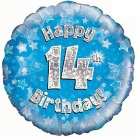 14 - Folie ballon - Happy Birthday - Blauw - 18 Inch/45cm