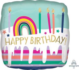 Happy Birthday! - Vierkante Folie Ballon - 17 Inch/ 43 cm
