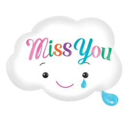 Miss You - Wolkje - Folie Ballon - wit met een gezichtje met een traan - 18 x 15 Inch/45x38cm