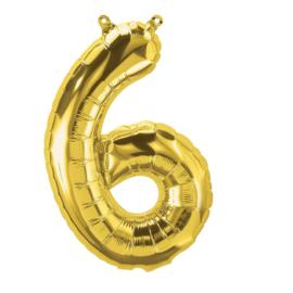 Cijfer - 6 - nummer - Goud - Folie ballon (lucht) - 16inch / 40 cm