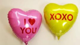 XOXO- Geel - Hart Folie Ballon - 17 Inch/43 cm