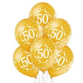 50 Jarig Jubileum - Gouden Latex ballonnen - 12 Inch/30cm - 6 st.