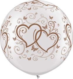 Grote Latex Ballon - Wit met rose Gouden harten print -30Inch /75cm