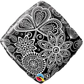 Bloemen - Damask- Zwart /Wit - Vierkant FolieBallon - 18Inch/46cm