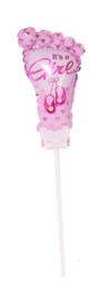 It's a Girl - Voetje - Roze - Small Folie Ballon incl. kaartje - 6 Inch / 15 cmt