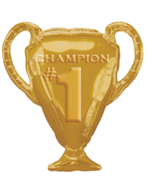 Champion - nr. 1 - Beker - Goud -Folie Ballon  - 28 Inch/ 71 cm