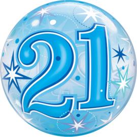 21 - Blauw brilliant stars  - Bubbles Ballon - 22Inch /56cm