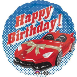 Happy Birthday! Rode Sportwagen met strik - Folie Ballon - 17 Inch/43cm