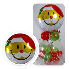 Cadeau - Kado Ballon - Merry Christmas - Kerstman Hoofd - Folie Top ballon