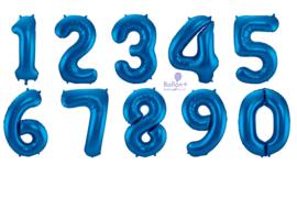 Cijfer ballon blauw heliumballon groot