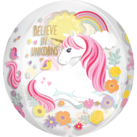 Believe in Unicorns - doorzichtige Orbz ballon - 4 kanten- 15x16 inch/38x40cm