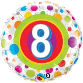 8 - Folie ballon -  kleurige Stippen- 18 inch/45cm