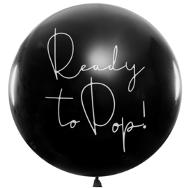 DIY: Ready to Pop!- Grote Zwarte Gender Reveal Ballon -Incl. Roze of Blauwe confetti - 36 inch/90 cm