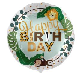 Happy Birthday - Jungle Ballon met Leeuw en Aap - 17 Inch/43cm
