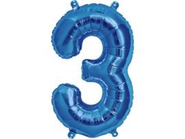 Cijfer - 3 - nummer - Blauw - Folie ballon (lucht) - 16inch / 40 cm