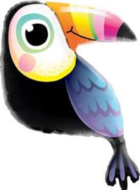 Toekan  - Folie ballon - Zwart met kleurrijke snavel - 40inch /102cm