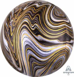 Marmer - Zwart / Goud / Grijs - Ronde Ballon - Orbz - 15x16 Inch / 38x40cm