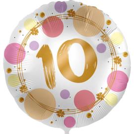 10 - Folie Ballon- rond - satijn wit met stippen in het roze/goud -18 inch /45cm