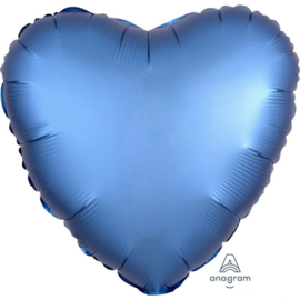 Satin Luxe  metallic Blauw - Hart Folie Ballon - 17 inch/43 cm