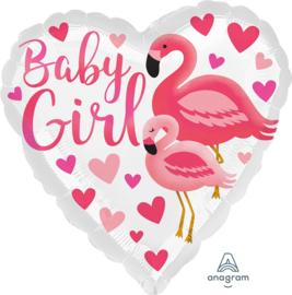 Baby Girl - Flamingo - Hartjes Folie Ballon - 17 Inch / 43 cm