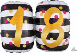 18- Zwart /Wit/ Goud Folie ballon XL -25x20 Inch/63x50 cm