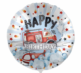 Happy Birthday - Brandweerauto / Helicopter - Folie ballon - 17 Inch/ 43 cm