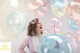 Geel Doorzichtige  Ballon-  18in/45cm
