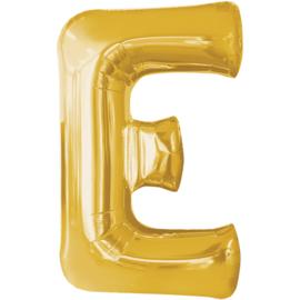 Letter E ballon goud 86 cm - folieballon letter alfabet helium of lucht