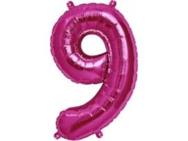 Cijfer - 9 - nummer - Fuchsia - Folie ballon (lucht) - 16inch / 40 cm