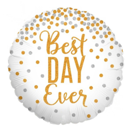 Best Day Ever - Glitter / Confetti - Folie Ballon - Goud / Zilver - 18 inch/46 cm