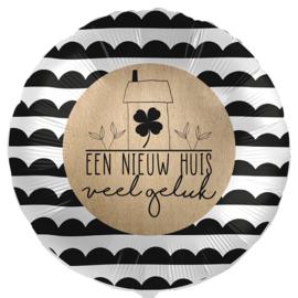 Een Nieuw Huis veel geluk, -Zwart / Zilver /Beige - Folie Ballon - 17 Inch/43 cm