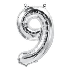 Cijfer - 9 - nummer - zilver - Folie ballon (lucht) - 16inch / 40 cm