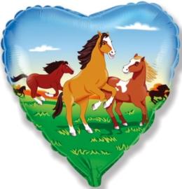 Paarden - Bruin - Hart Folie Ballon - 18Inch/45cm