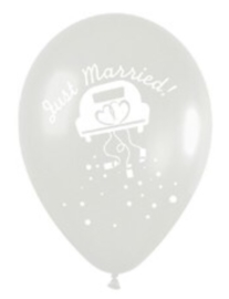 Just Married -  Bruids  Auto / Wedding Car - Transparant - Latex Ballon - 12 inch/ 30 cm