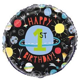 1e verjaardag - Happy Birthday-Ruimte Folie Ballon - 18 Inch /45 cm