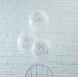 Hello World - Mint opdruk op een witte latexballon - 12 Inch/30 cm - 10 st.