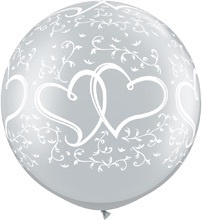 Liefdes Harten -Entwined - Zilver - XXL -Latex Ballon - 30 Inch / 75cm